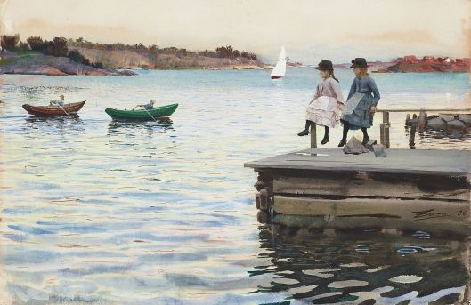 When we ignore reality we row against the current. 'A boat race between two boys at the island of Dalarö, in the Stockholm archipelago' Anders Zorn 1885 {{PD}}