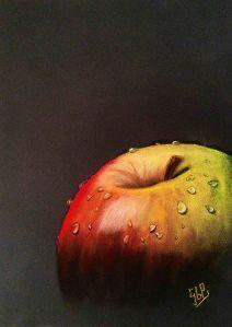 'Fruta húmeda manzana' Sandra Gómez Pi CC BY-SA 3.0  http://blog.illustraciencia.cat/2015/04/fruta-humeda-manzana-sandra-gomez-pi.html