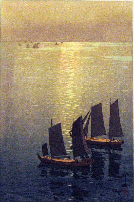 'Glittering Sea' Hiroshi Yoshida 1925 {{PD}}