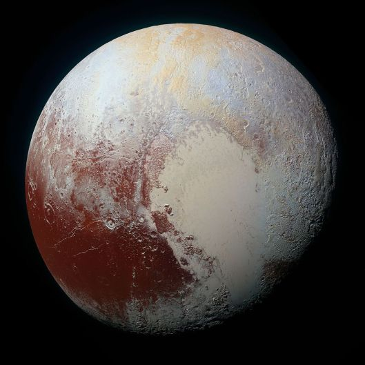 A gorgeous photo of Pluto, just because. Thanks, NASA! {{PD}}