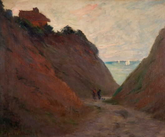 The path we follow today certainly determines where we end up tomorrow. 'The Sunken Road in the Cliff at Varangeville' (1882)-Claude Monet {{PD}}