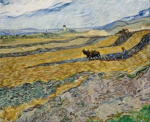Vincent van Gogh - 'Enclosed Field with Ploughman' 1888 {{PD}}