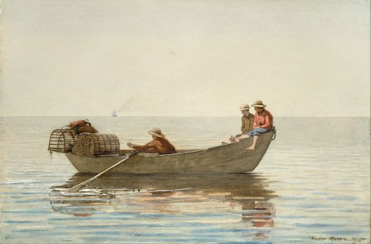 Not the kind of trap we're talking about. Winslow Homer - 'Three Boys in a Dory with Lobster Pots' 1874 {{PD}}