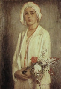 All in white, she looks like she knows a thing or two. Alfredo Andersen - 'Retrato de Guigui' {{PD}}