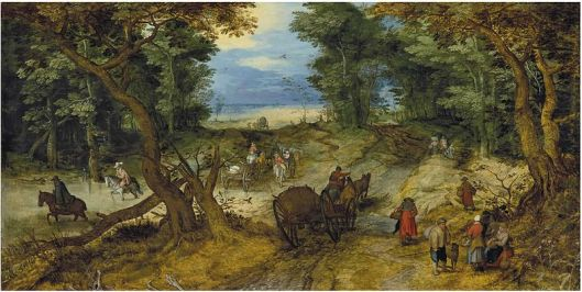 Jan Brueghel I -' A wooded landscape with travelers on a path' c1607 {{PD}}