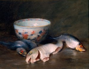 Still Life with Fish by William Merritt Chase, c. 1910 {{PD}}