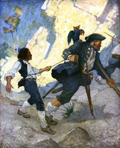 'Jim, Long John Silver and his Parrot' by N. C. Wyeth from 1911 edition of 'Treasure Island' {{PD}}