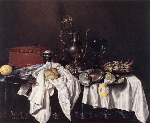 Still Life with Pie, Silver Ewer and Crab by Willem Claeszoon Heda (1658) {{PD}}