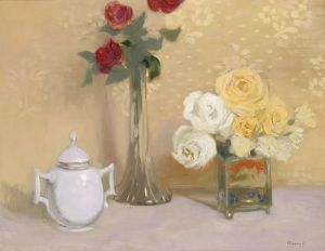 'Still Life with Roses' Ferenc Olgyay 1939 {{PD}}