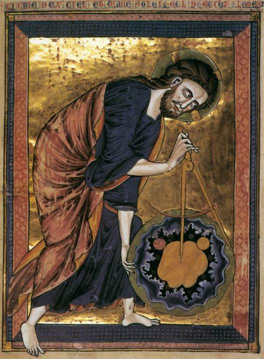 Jesus, relaxing with a little geometry. Unknown Miniaturist, French (active around 1250) {{PD}}