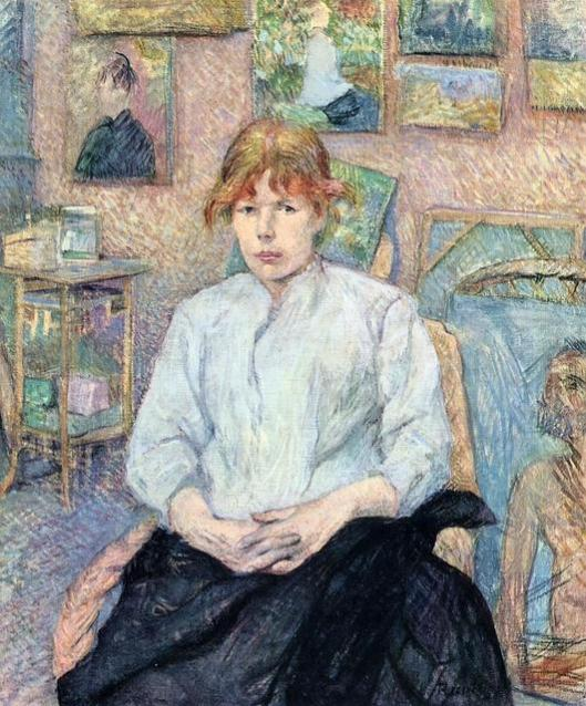 Henri de Toulouse-Lautrec 'Carmen Gaudin Red-Headed Woman in a White Blouse' 1885 {{PD}}