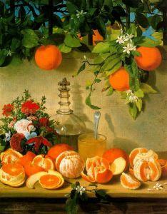 Bodegón de naranjas by Rafael Romero Barros 1862 {{PD}}