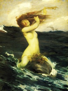 Venusian urges can be very exhilarated on first entering the world of Scorpionic feeling. The Foam Sprite (1895) Herbert James Draper {{PD}}