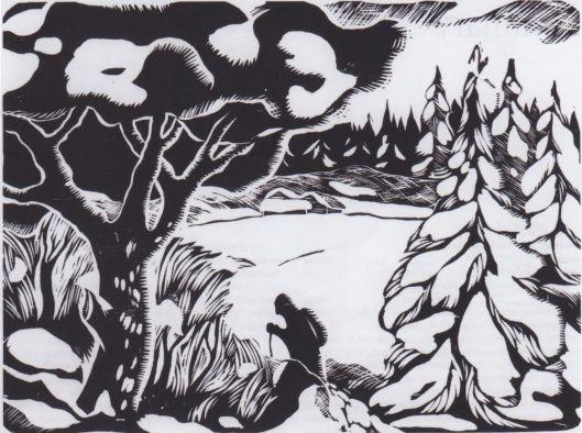Aksel Waldemar Johannessen 'Skiläufer in verschneiter Landschaft' - c. 1918 {{PD}}