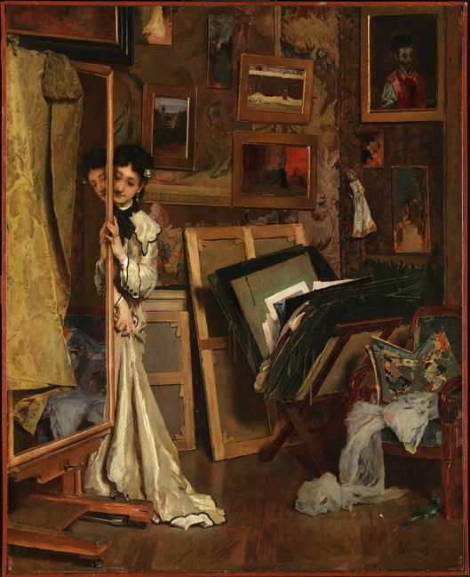 Alfred Stevens 'The Psyché (My Studio)' c1871 {{PD}}