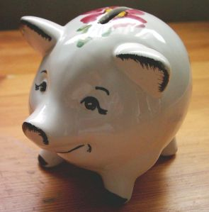 Piggy bank from German bank HASPA, around 1970. Photo by GeorgHH {{PD}}