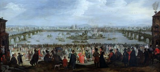 You remember this, right? The Mock Battle between the Weaver's and Dyer's Guilds on the Arno in Florence on 25 July 1619 {{PD}}