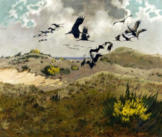 'Cranes in Dunes' Friedrich Lissmann 1910 {{PD}}