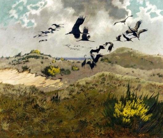 'Cranes in Dunes' Friedrich Lissmann 1910 {{PD}}