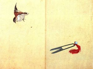 'Pair of Scissors and Sparrow' Katsushika Hokusai (葛飾北斎) {{PD}}