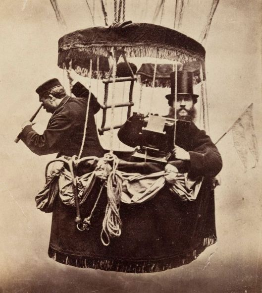 Self-portrait in a balloon gondola, Konrad Brandel c1865 {{PD}}