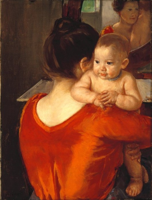 'Woman in a Red Bodice and Her Child' - Mary Cassatt c1900 {{PD}}