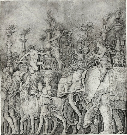'Procession of Elephants' Giulio Campagnola {{PD}}