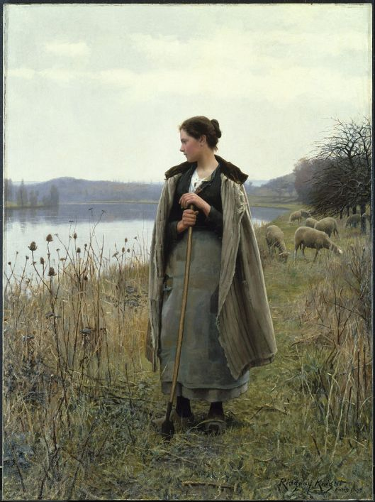 Daniel Ridgway Knight - 'The Shepherdess of Rolleboise' 1895 {{PD}}
