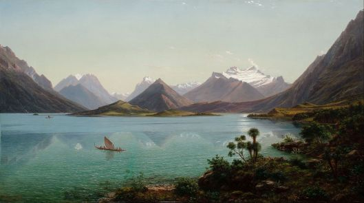 Eugène von Guérard. 'Lake Wakatipu with Mount Earnslaw, Middle Island, New Zealand' 1877 - 1879 {{PD}}