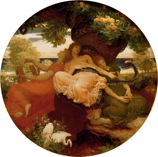 Hesperides were guardians of the tree that produced golden apples, a gift to earth from Hera. Frederic Leighton, 1892 {{PD}}