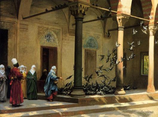 Harem Women 'Feeding Pigeons in a Courtyard' Jean-Léon Gérôme {{PD}}