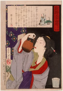Tsukioka Yoshitoshi  'Geisha Drinking from Sake Kettle at 2:00 a.m.' Now THAT'S overdoing it. {{PD}}