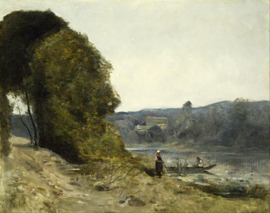 Jean-Baptiste-Camille Corot - 'The Departure of the Boatman' c1870 {{PD}}