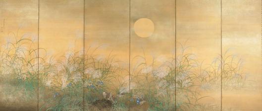Quail Feeding Amidst Susuki and Kikyo by Matsumura Keibun {{PD}}