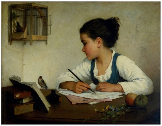 Henriette Browne  - 'A Girl Writing; The Pet Goldfinch' c1870 {{PD}}