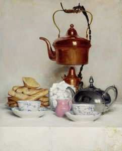 'Still life: Tea Service' Albert Anker {{PD}}