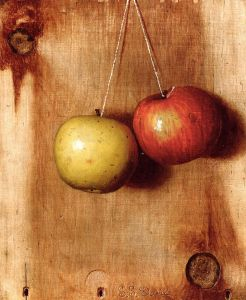 'Hanging Apples' by DeScott Evans. And what are they hanging by? Twine! {{PD}}