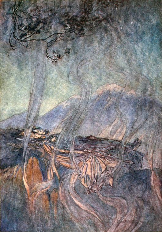 We might be facing matters through our dreams, too. 'Brünnhilde lies asleep, surrounded with magic fire' By Arthur Rackham 1910 {{PD}}