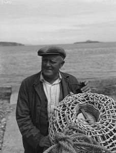 Aberdaron Fisherman Evan Williams, who predicted a fine summer, and was proved right. Photo by Geoff Charles -     CC0view terms     File:Aberdaron Fisherman, Evan Williams, who predicted a fine summer and was proved right. CC0