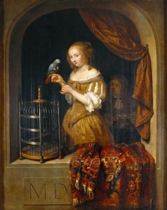 'Lady at the Window' Caspar Netscher (circa 1639–1684) {{PD}}