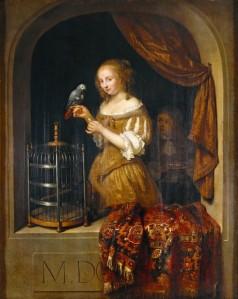 'Lady at the Window' Caspar Netscher (circa 1639–1684) {{PD}}
