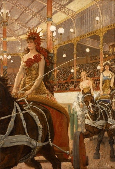 'Conductrices de chariots a l'Hypodrome' James Tissot c1884 {{PD}}
