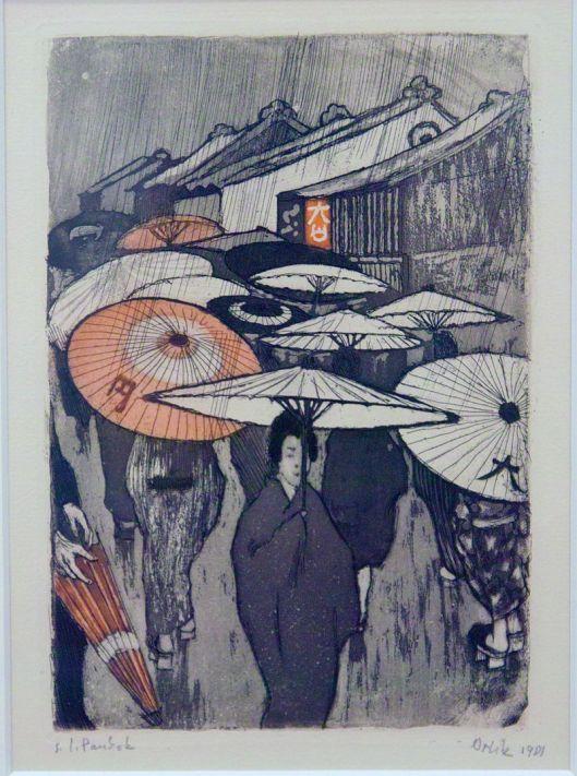 """""""Regentag in Kyoto"""" 1901. bez. s.l. (seinem lieben) Pankok. Farbradierung. Bl. 8 der Mappe aus Japan Photo by ArishG Creative Commons Attribution-Share Alike 3.0 Unported"""