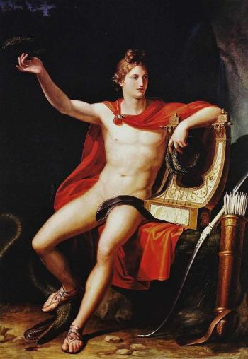 There's a sharp dresser for you. And the 'do! Pietro Benvenuti - 'Apollo, Winner of the Serpent Python', 1813 {{PD}}