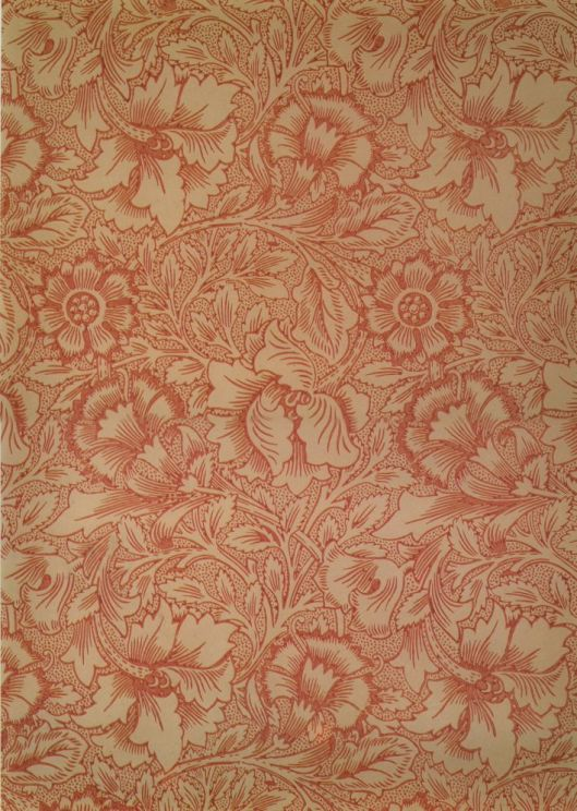 Pink and Poppy Wallpaper by William Morris 1881 {{PD}}
