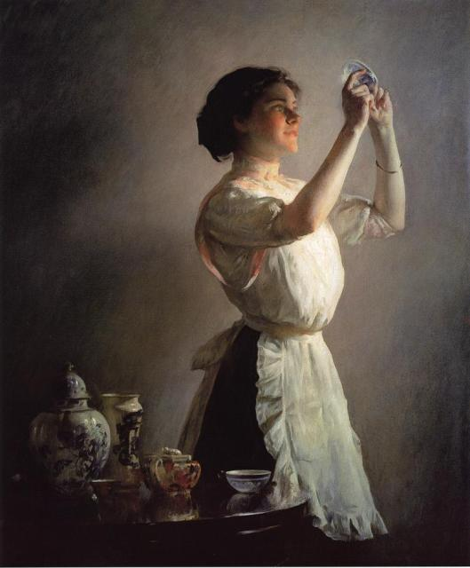 Joseph DeCamp  'The Blue Cup' 1908 {{PD}}