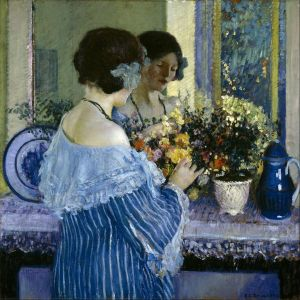 Frederick Carl Frieseke - 'Girl in Blue Arranging Flowers' 1914 {{PD}}