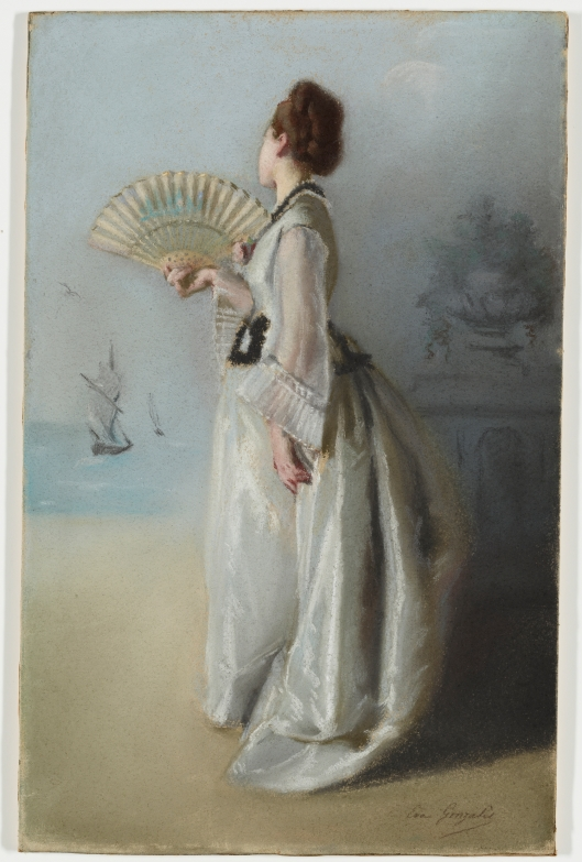 'Lady with a Fan', Eva Gonzales c1870 {{PD}}