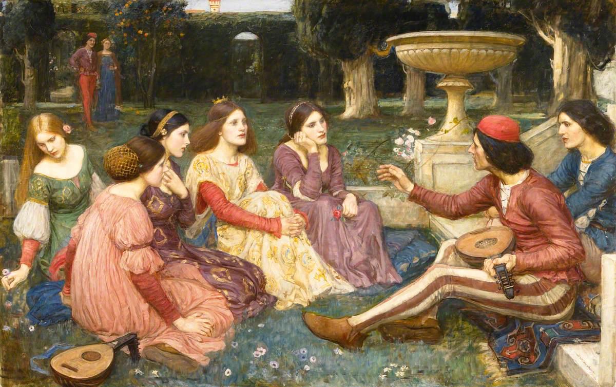 John William Waterhouse - 'The Decameron' c1915 {{PD}}