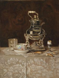 'Still Life with Samovar and Chinese Teacup' Max Schödl 1869 {{PD}}